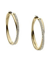 Michael Kors Brilliance Pave Crossover Hoop Earrings