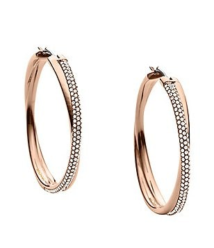 Michael Kors Brilliance Pavé Crossover Hoop Earrings