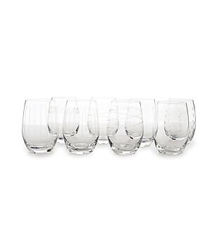 Mikasa Cheers Striped, Swirled & Dotted Stemless Wine Glasses, Set of 8