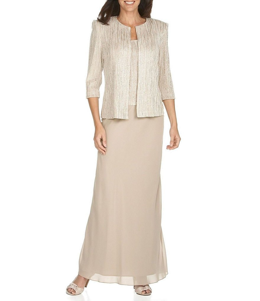dillards wedding dress Alex Evenings Glitter Embellished Slinky Twinset Chiffon Skirt