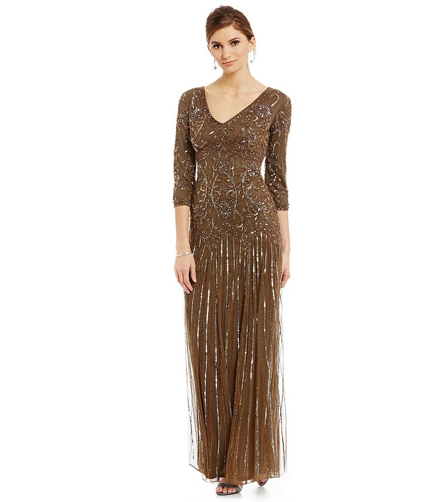 Pisarro Nights 3/4-Sleeve Beaded Gown