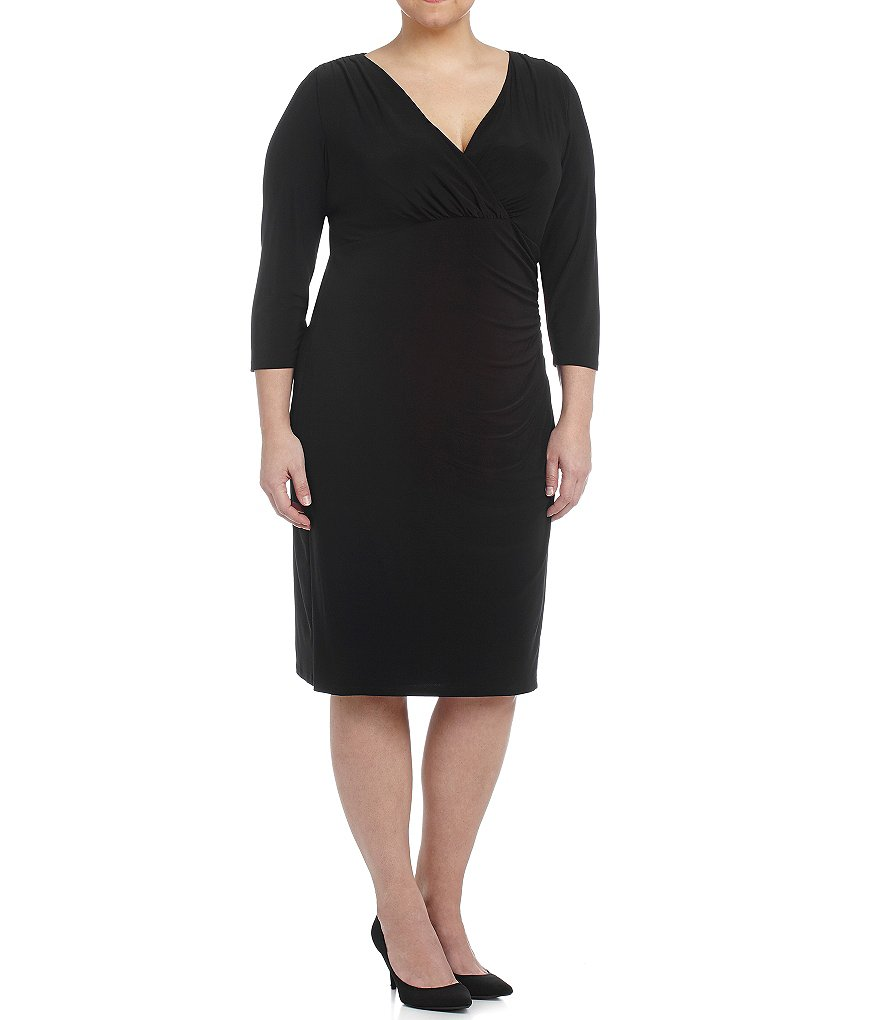 Lauren Ralph Lauren Plus 3/4-Sleeve Jersey Dress