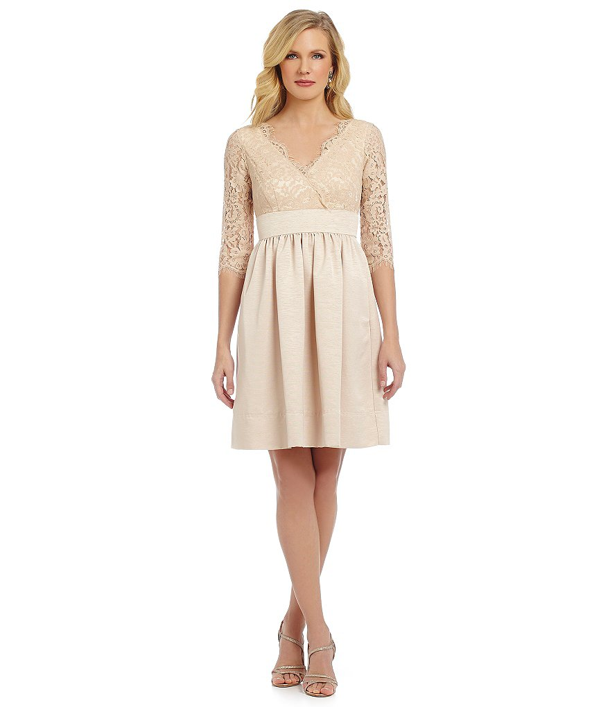 Eliza J Lace-Bodice Fit-and-Flare Dress