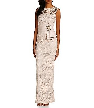 Eliza J Illusion Lace Column Gown