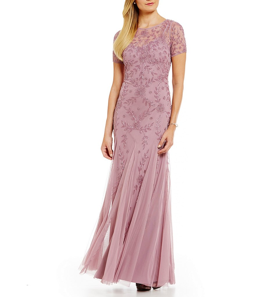 adrianna papell floral beaded gown dillards