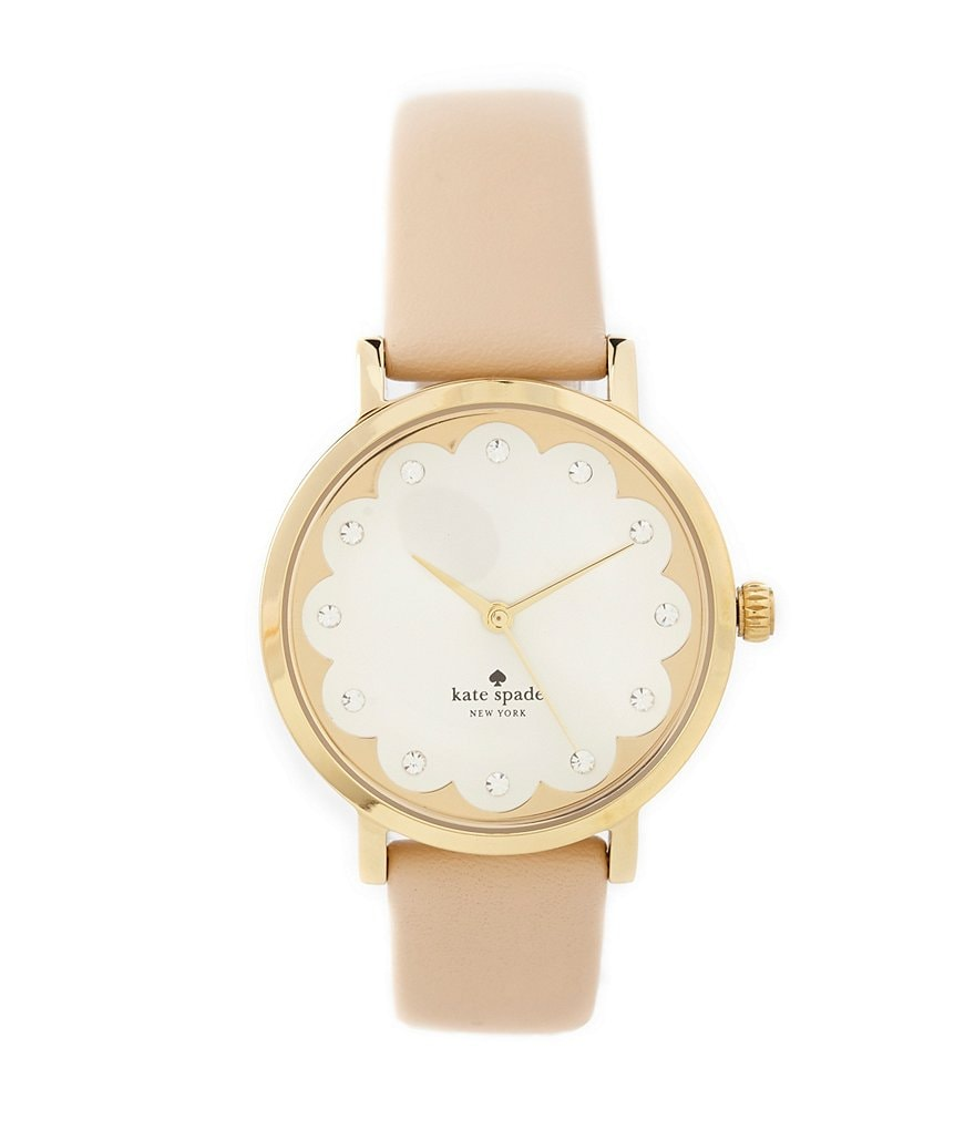 kate spade new york Metro 3 Hand Stainless Steel Leather Strap Scalloped Watch