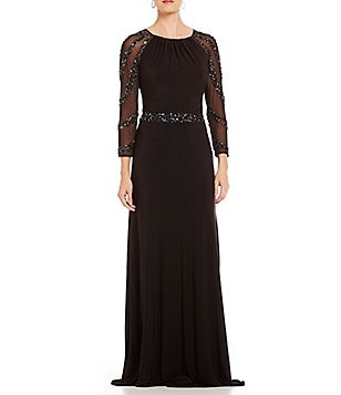 Marina Beaded Illusion Sleeve Gown