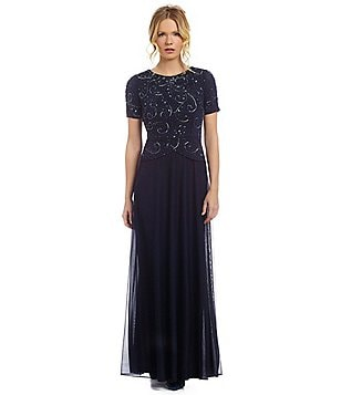 Decode 1.8 Beaded-Bodice Chiffon Gown