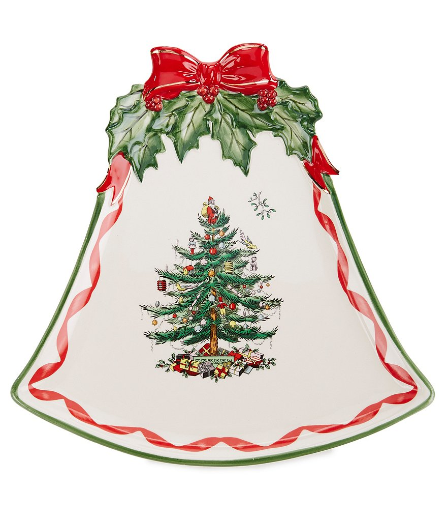 Spode Christmas Tree Ribbons Bell-Shaped Coupe Plate
