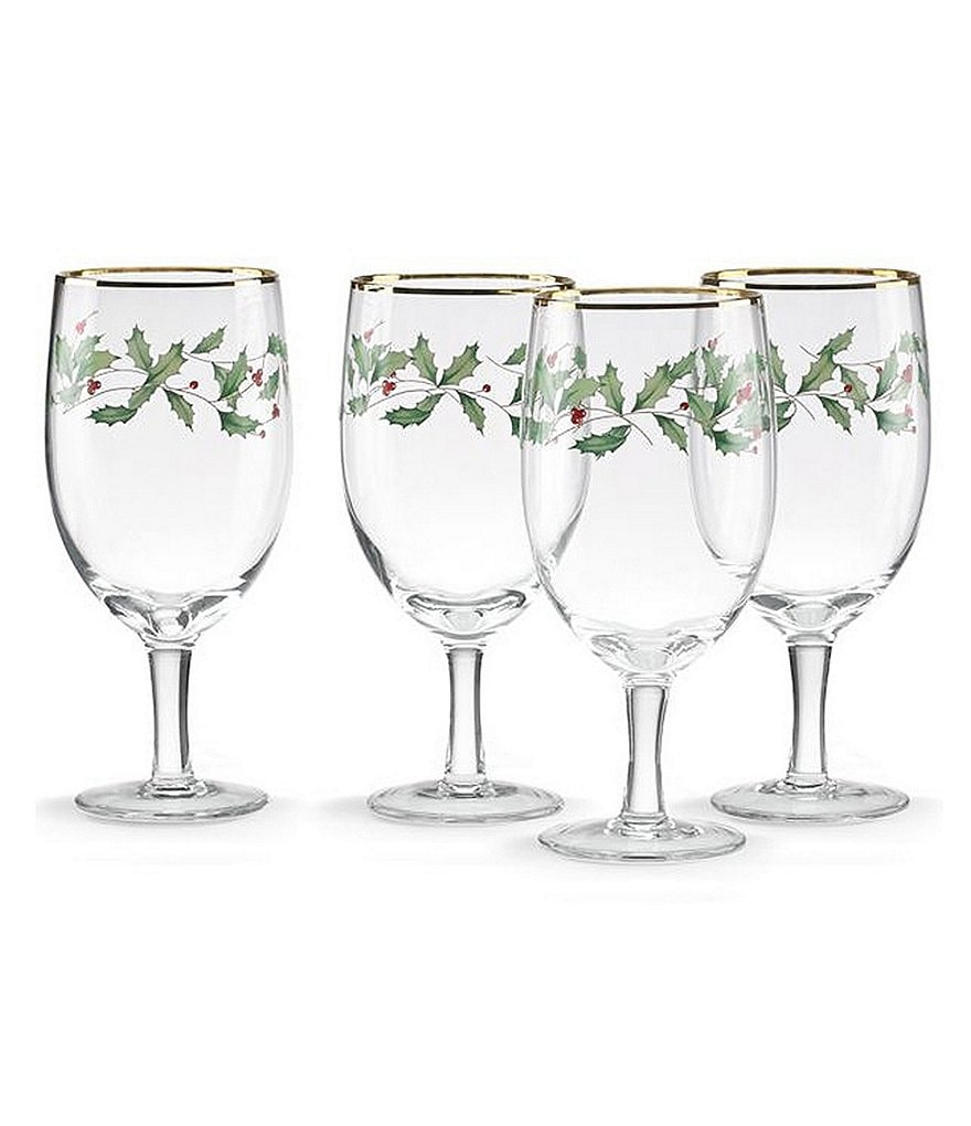 Lenox Holiday Decal Iced Beverage Glasses, Set of 4