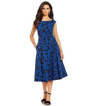 Betsey Johnson Floral-Print Tea-Length Dress