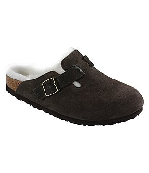 Birkenstock Boston Suede Shearling Lined Slip On Clogs