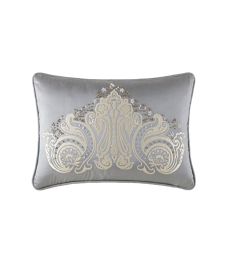 Waterford Colebrook Beaded Satin-Embroidered Velvet Breakfast Pillow