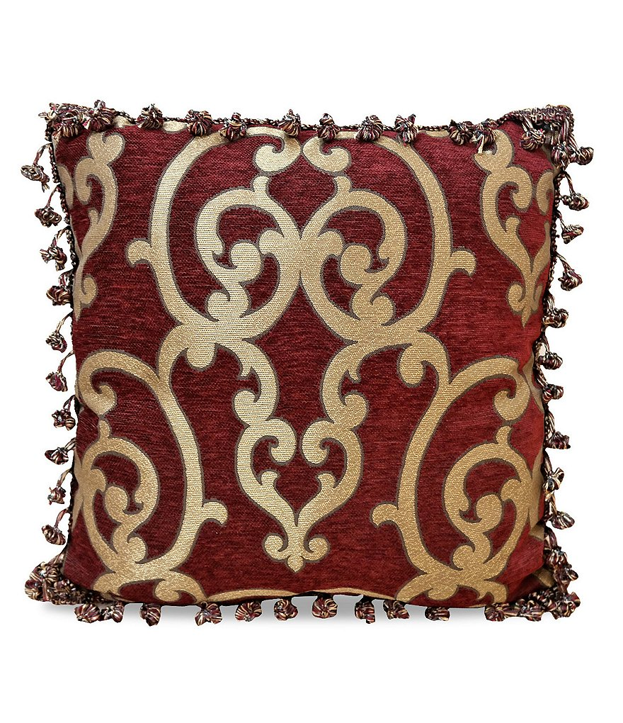 Veratex Corsica Tasseled Damask Square Pillow