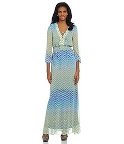 Jessica Simpson Ombre Chevron Chiffon Maxi Dress