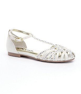 Nina Danetta Jeweled Satin Girls´ T-Strap Dress Sandals