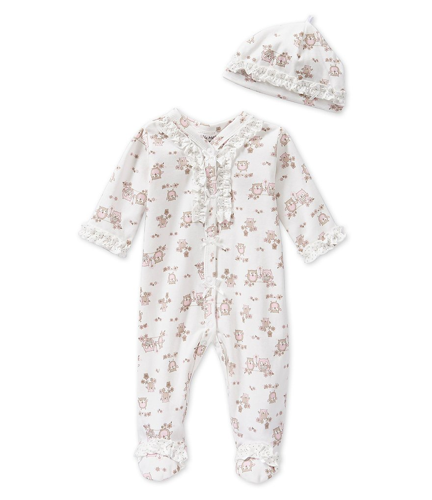 Little Me Baby Girls Preemie-9 Months Sweet Owl Footed Coverall & Hat Set