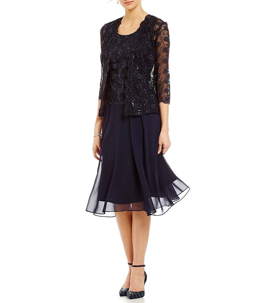 R & M Richards Lace Chiffon Jacket Dress