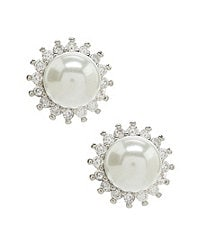 Dillard�s Boxed Pave Pearl Stud Earrings