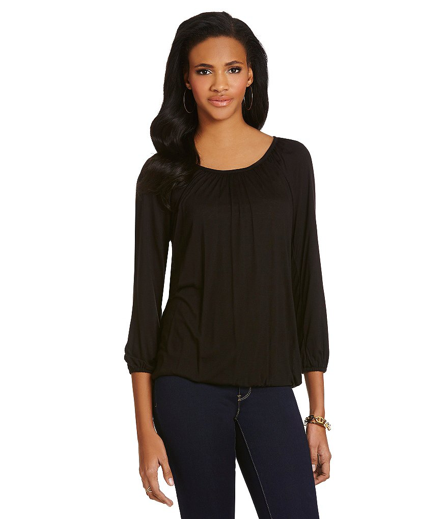 MICHAEL Michael Kors Scoop-Neck Knit Jersey Peasant Top