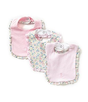 Ralph Lauren Childrenswear 3-Pack Ruffled Bibs