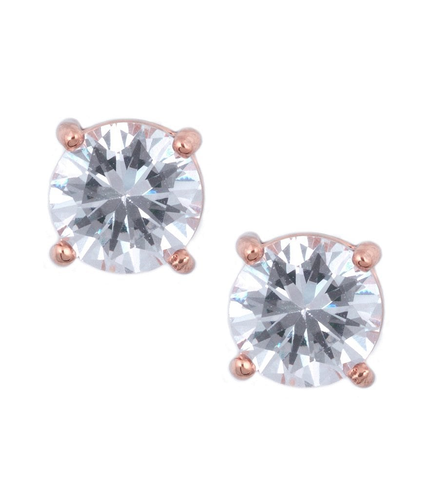 Anne Klein Round Rose Gold Crystal Stud Earrings