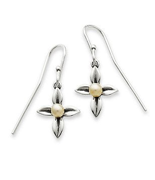 James Avery Leaf Cross with Pearl Drop Earrings