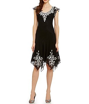 JKara Cap Sleeve Beaded Dress