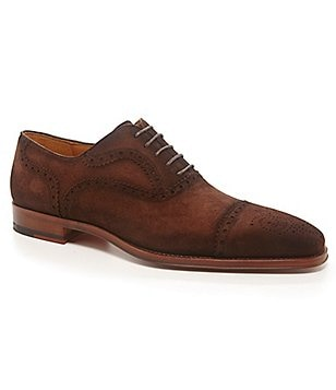 Magnanni Riley Wingtip Suede Dress Oxfords