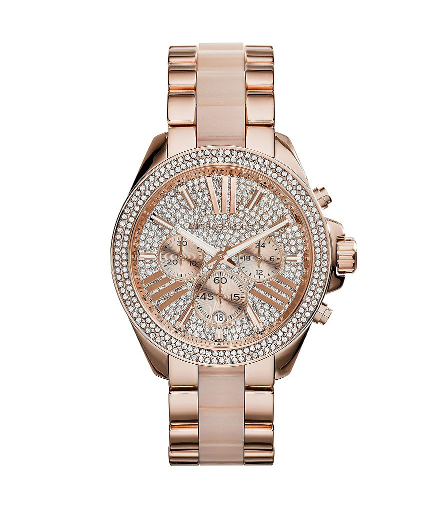 Michael Kors Wren Pavé Stainless Steel Chronograph Bracelet Watch