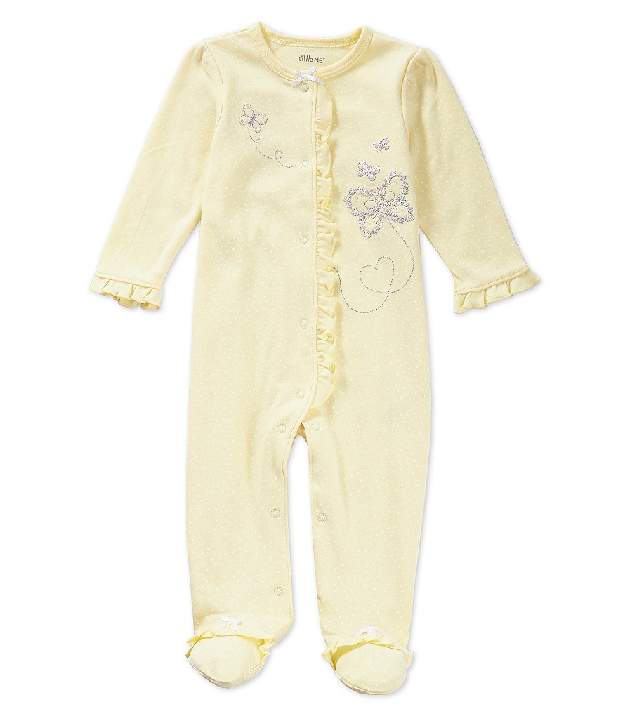 Little Me Baby Girls Newborn-9 Months Butterfly Footed Coverall