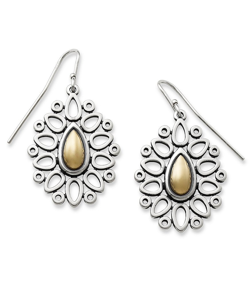James Avery Silver & Gold Teardrop Lattice Earrings