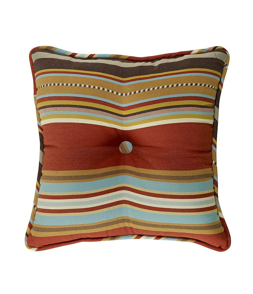 HiEnd Accents Calhoun Serape-Striped Button-Tufted Square Pillow