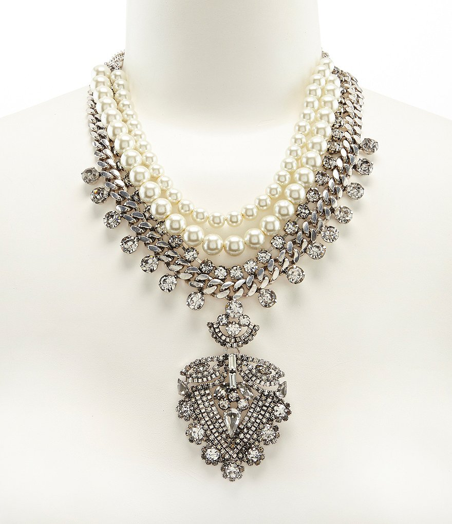 Belle Badgley Mischka Rhinestone and Pearl Pendant Statement Necklace