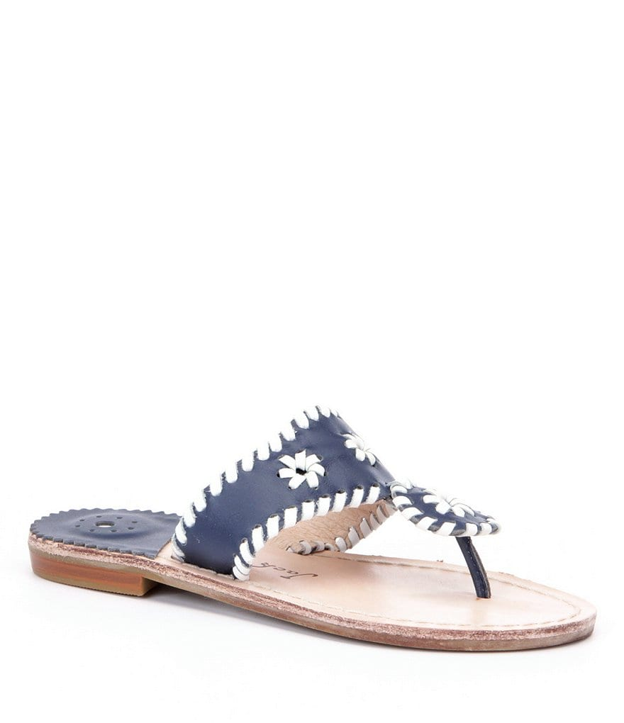 Jack Rogers Girl´s Miss Palm Beach Leather Whipstitched Rondelle Detailed Sandals