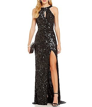 MAC by Mac Duggal Metallic Sequin High-Neckline Cowl Open Back Gown