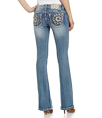 Miss Me Flower-Pocket Bootcut Jeans