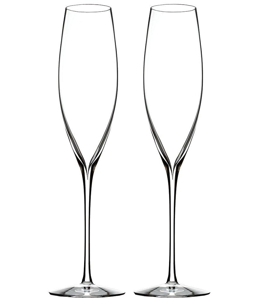 Waterford Elegance Collection Classic Crystal Champagne Flute Pair