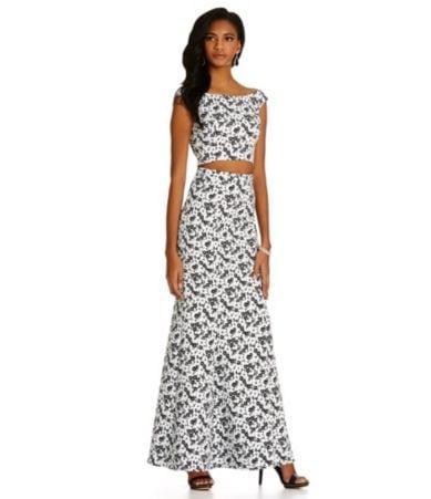 Xscape 2-Piece Floral Jacquard Gown