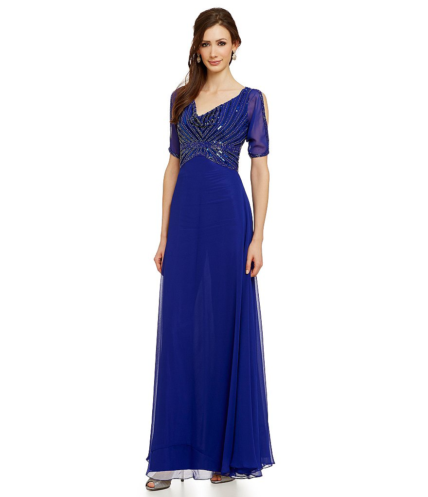 Jkara Beaded Cowlneck Gown