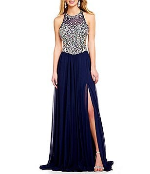 Glamour by Terani Couture Halter High Neck Beaded Illusion Bodice Strappy Open-Back Gown