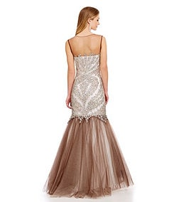 Glamour by Terani Couture Illusion Beaded Trumpet Gown
