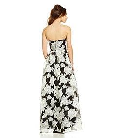 B. Darlin Floral-Print Strapless Ball Gown
