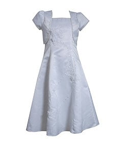 Bonnie Jean 7-12 Satin Jacket & Beaded-Embroidered Dress Set