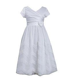 Bonnie Jean 7-12 Crossover-Bodice Chevron-Stripe-Skirted Dress