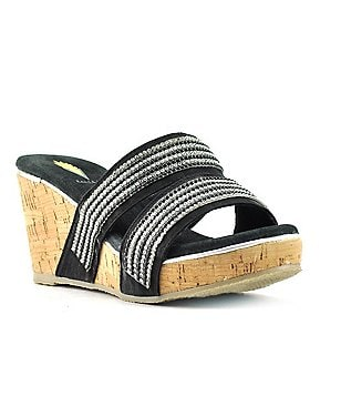 Volatile Candied Textile Banded Rhinestone Embellished Slide Wedge Sandals