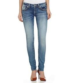 Miss Me Mid-Rise Flower-Pocket Skinny Jeans