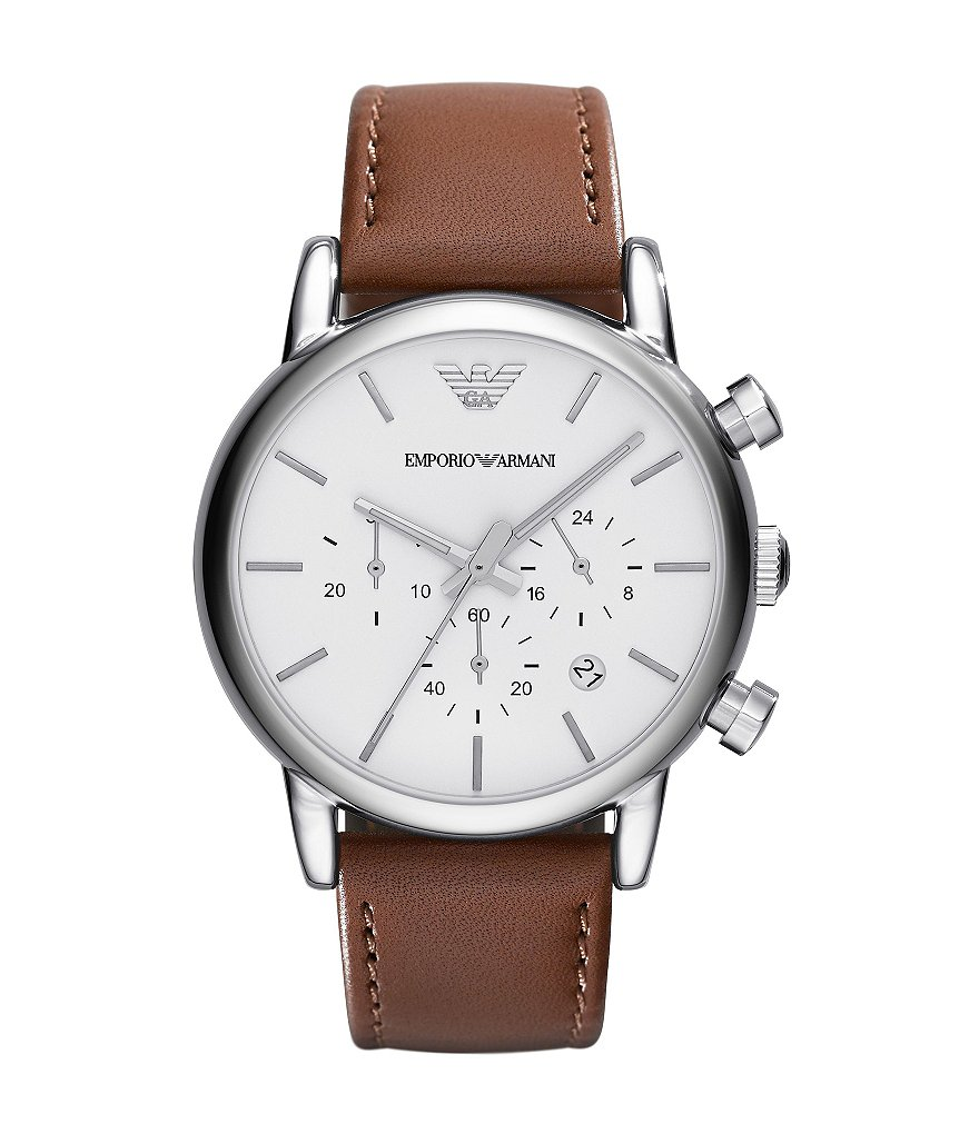 Emporio Armani Men´s Classic Brown Leather Strap Stainless Steel Chronograph Watch