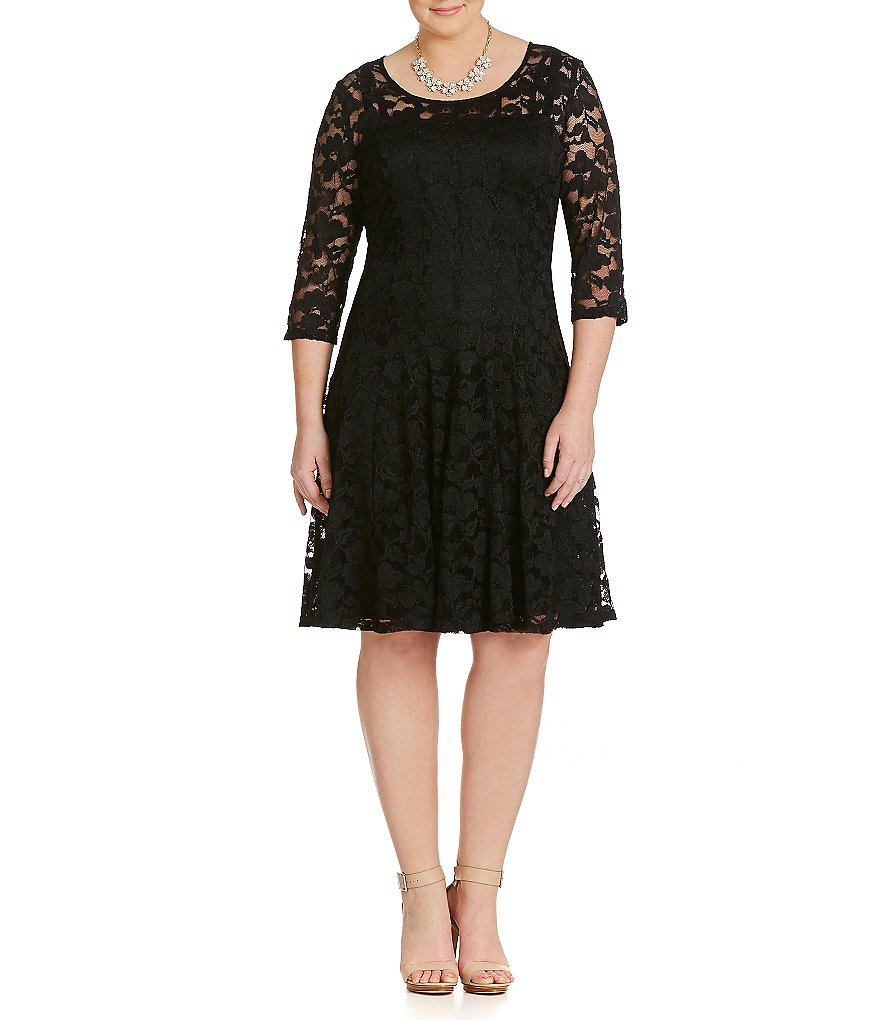 Leslie Fay Plus Floral Lace Fit-and-Flare Dress