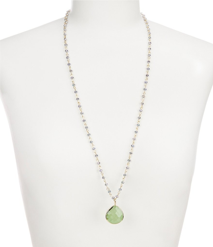 Lonna & Lilly Green Teardrop Long Pendant Necklace